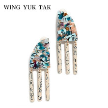 wing yuk tak New Fashion Geometric Acrylic Tassel Earrings For Women Boho Hyperbole Drop Statement Jewelry