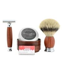 Grandslam Double Edge Safety Razor Shaving Set Men Badger Hair Shaving Brush Natural Wood Cream Bowl Mug With Shaving Soap Kit