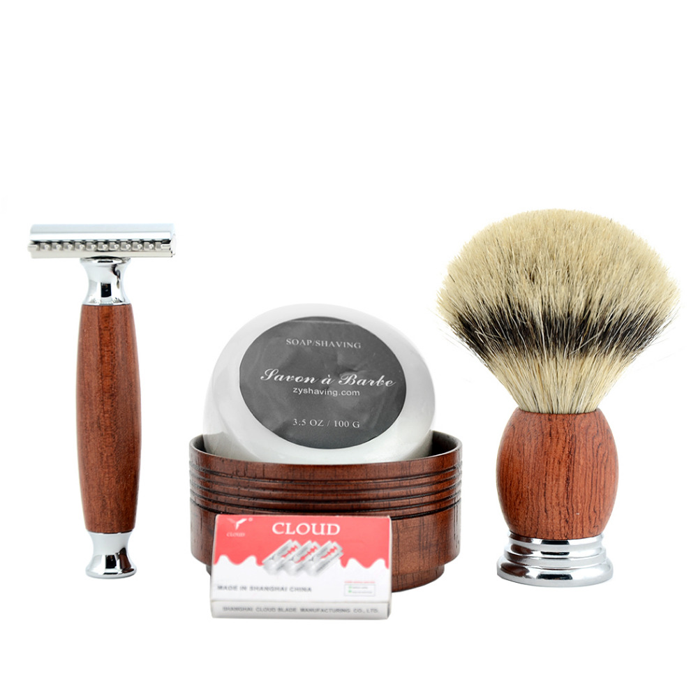 ZY Double Edge Safety Razor Rakning Set Men Badger Rakning Borste + Natural Wood Bowl Cup + Barber Face Cleaning Tvål +10 Blades