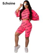 Echoine Letter Print 2 Piece set Women Crop Top and Shorts Sets Casual Sportwear Female Tracksuit Top Pants Set Streetwear