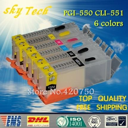 Пустые многоразовые картриджи для PGI550 CLI551, подходит для canon MG5450 IP8750 MG6350 MG6450 MG7150 Ip7250, с чипом ARC