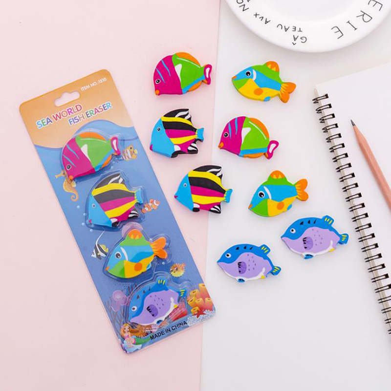 4 Pcs/pack Cartoon Mini Sea World Tropic Fish Eraser Rubber Pencil Erasers Office School Supply Korean Stationery Gifts