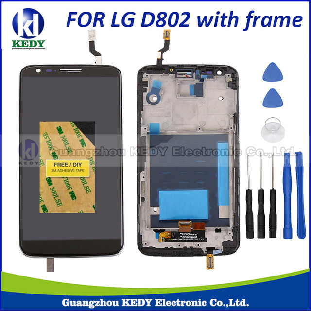 1pcs New lcd For LG Optimus G2 D802 D805 F320 LCD Touch Screen Digitizer with Frame Assembly+TOOL