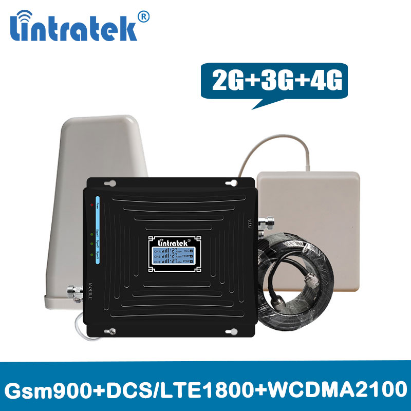 2G 3G 4G triple band repeater 900 1800 2100 mhz signal booster gsm 900 lte 1800