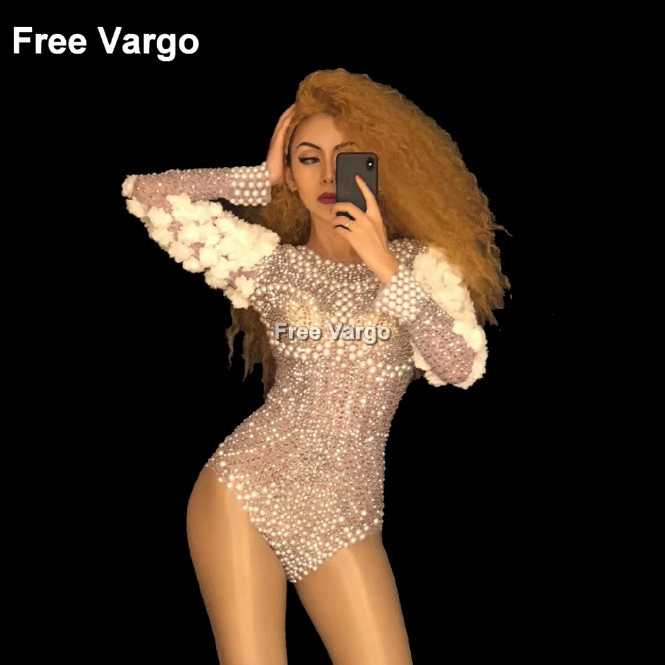 Holographic Pearl Rhinestone Jumpsuit Drag Queen Costumes Female One-piece Women Sexy Bodysuit Party Stage Singer Dance Wear