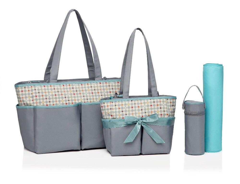 5pcs/set Multifunctional Dot Diaper Bag Stroller Accessory Baby Bag Nappy Bags Maternity Bags Handbag