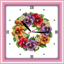 Colored poppies clock face cross stitch kit 14ct 11ct count print canvas wall clock stitching embroidery DIY handmade needlework(China)