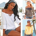 AS43 Basic T Shirt Long Sleeve Womens Tops Adjustable Neck Off Shoulder Tee T Shirt Women Clothing T-shirt