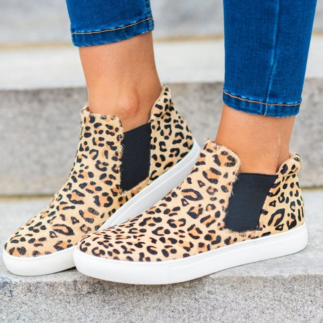 MoneRffi Women Casual Shoes Flats 2019 Women Leaopard Woman Sneakers Flats Leopard Breathable Shoes Dropship