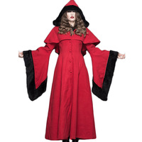 Steampunk Winter Women S Jacket Black Red Hoodeed Long Sleeve Coats Punk Gothic Woman Thicken Thermal
