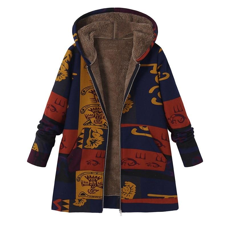 2018 Celmia Winter Vintage Print Fluffy Fur Jacket s