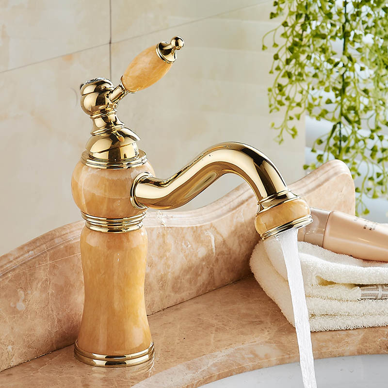 New Luxury Bathroom Faucet Vanity Vessel Cabinet Basin faucet Mixer Tap Cold Hot Water taps Brass Gold Color Hardstone 2271401 2017 wholesale new premium high quality gold bidet mixer faucet taps