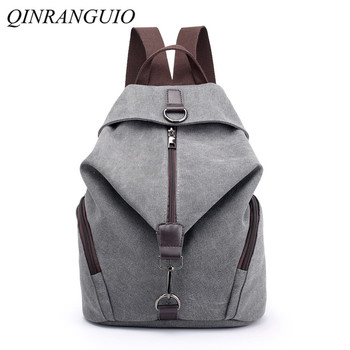 QINRANGUIO Women Backpack Fashion Canvas Backpack Large Capacity School Bags for Teenage Girls Backpack Female Backpack Women qinranguio genuine leather backpack women design 100% cow leather women backpack 2020 large capacity black school backpack
