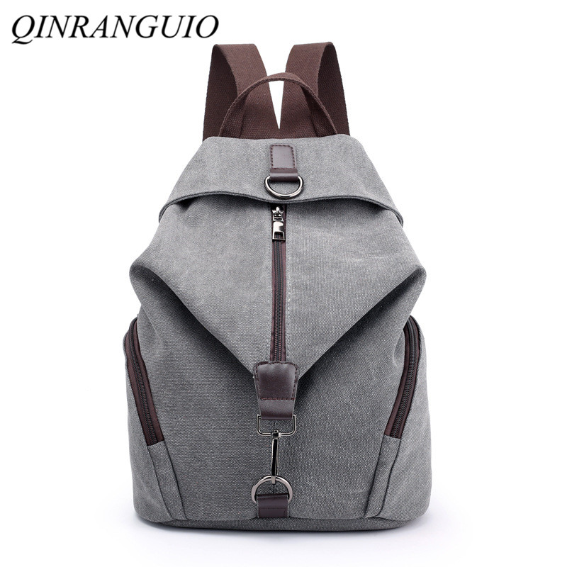 QINRANGUIO Women Backpack Fashion Canvas Backpack Large Capacity School Bags for Teenage Girls Backpack Female Backpack Women