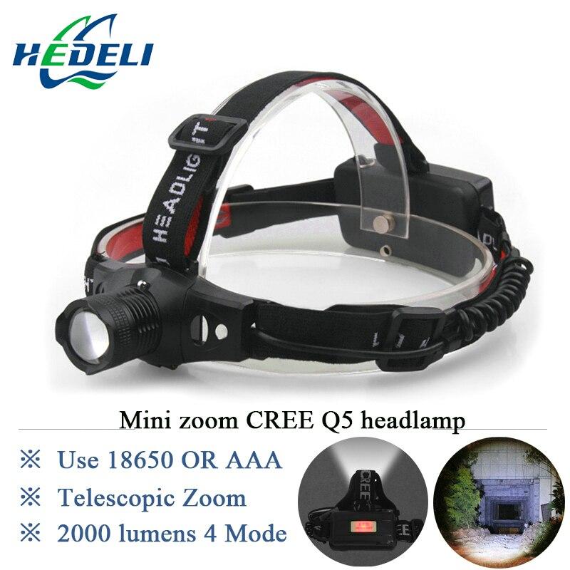 Mini Zoomable LED Headlamp Rechargeable Headlight CREE Flashlight XPE Q5 Head light waterproof 18650 OR AAA hunting Camp Fishing