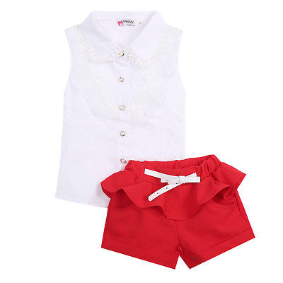 White Tops Vest Shirts + Shorts Red Summer Children Baby Kids Girls Clothes Sets 2pcs Party Lace Floral Clothing Set 2-7Y flower sleeveless vest t shirt tops vest shorts pants outfit girl clothes set 2pcs baby children girls kids clothing bow knot