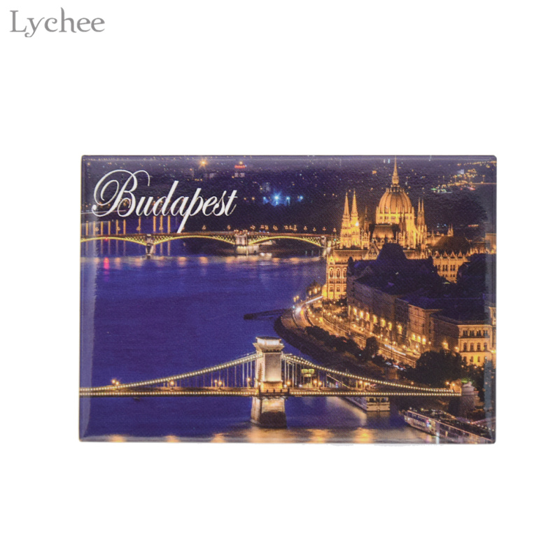 Lychee Budapest City Night Fridge Magnetic Fridge Magnets Tourist Souvenirs Magnetic Refrigerator Stickers Home Decoration
