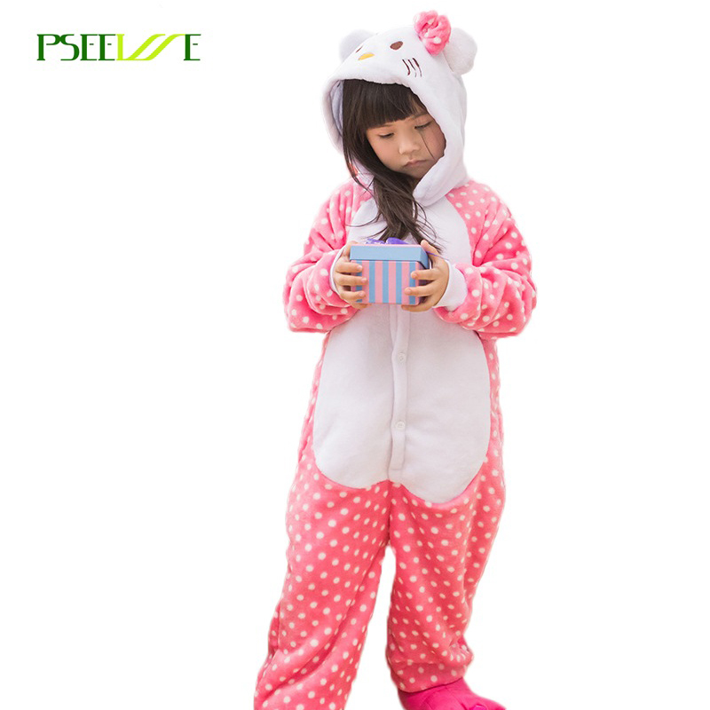 Autumn Winter Boys Girls Pajama Set Lovely Cartoon KT Cat Pajama Unisex KID Flannel Hooded Animal christmas pajamas Onesies