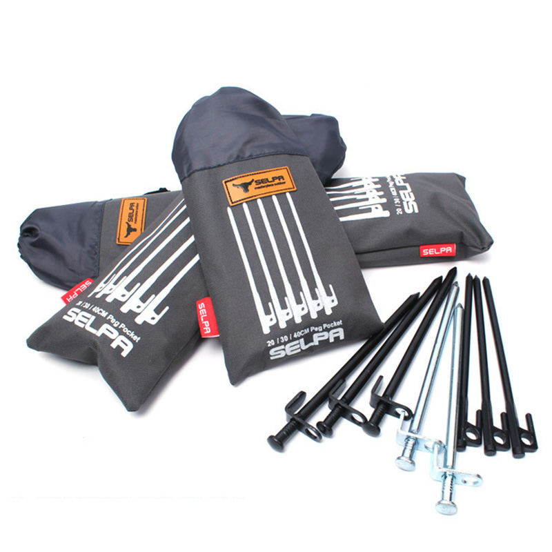 1pc Outdoor Camping Wind Rope Tent Pegs Nail Storage Bag Tent Accessories Hammer For 20cm,30cm,40cm High Quality P5