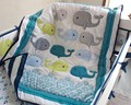 New 7pcs Appliqued  Baby Cot Crib Bedding set for girl Comforter / Quilt Fitted Sheet Bumpers Skirt