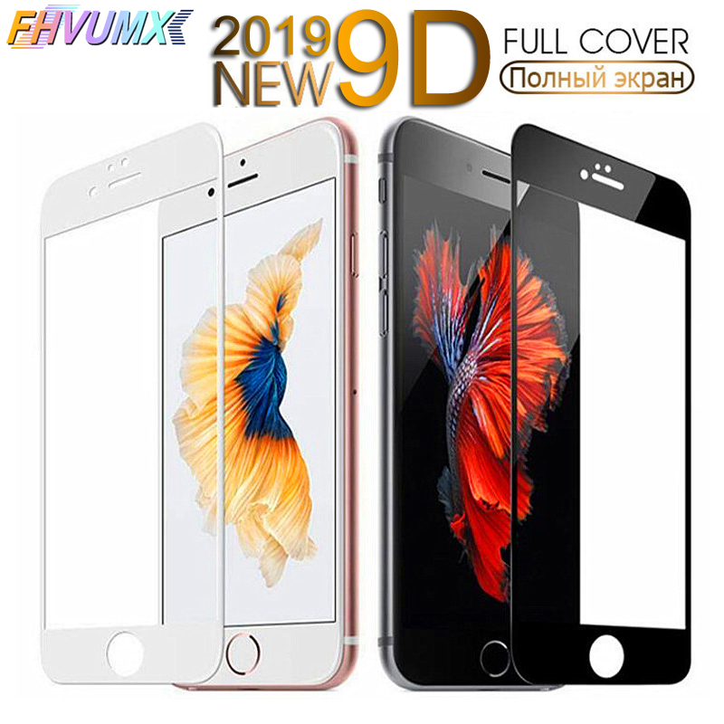 FHVUMX 9D Curved Edge Full Cover Tempered Glass 7 8 Plus Glass For iPhone 6 6S Plus