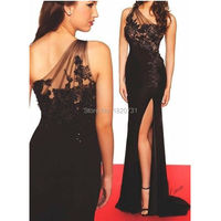 Дешёвые Выпускные платья 2019 высокий разрез Черное вечернее платье на одно плечо Тонкий Встроенная пикантные вечерние платья ручной работы