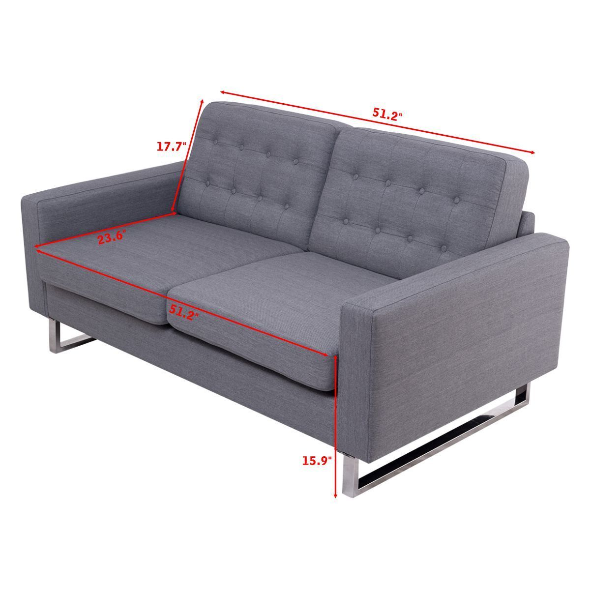 Giantex 2 Seat Sofa Couch Home Office Modern Loveseat Fabric Upholstered Tufted Luxury Sofas Living Room Furniture Hw56261 In From