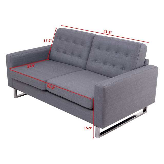 Giantex 2 Seat Sofa Couch Home Office Modern Loveseat Fabric ...