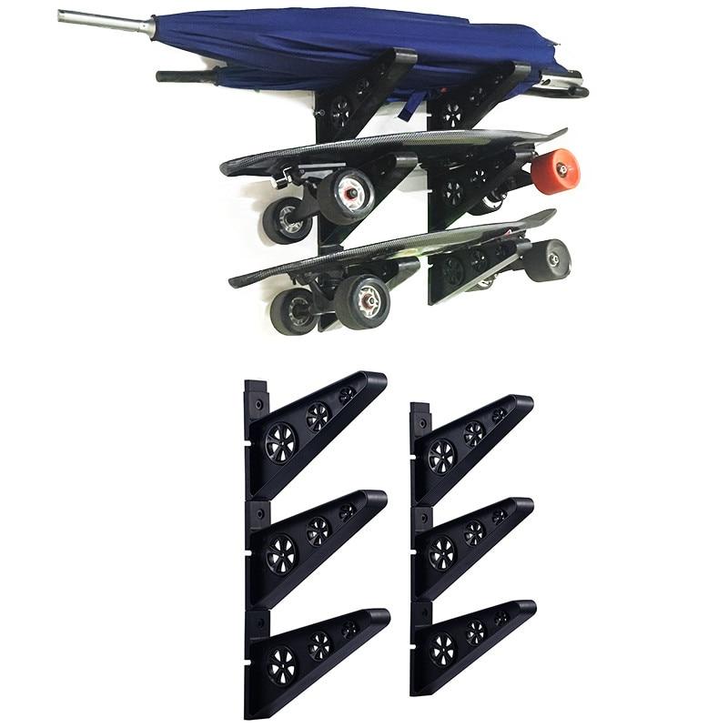 3Pairs Skateboard Wall Mount Rack Skateboard Storage Hanger Holder Balancing Scooter Organisation Hook Longboard Display Tools