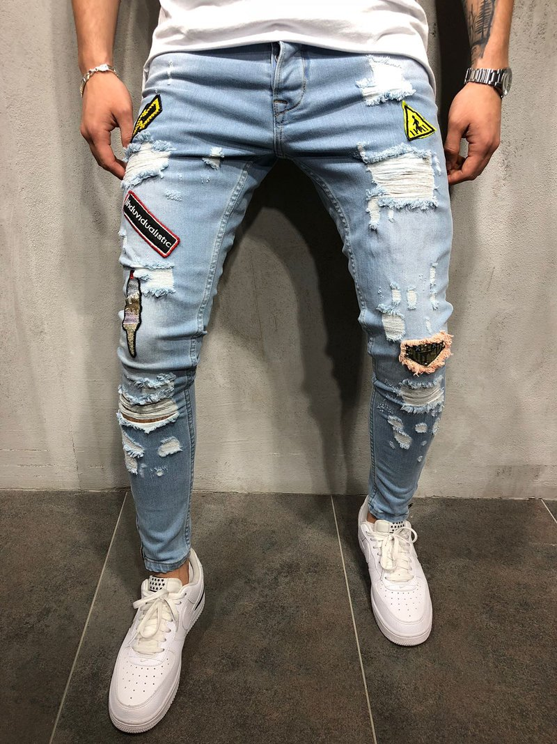 Diaooaid Fashion New Male Hole Badge Embroidery Denim Trousers Pants Men's Streetwear Hiphop Skinny Casual Patch Jeans