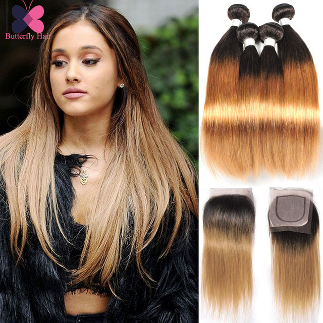 10A Grade Brazilian Ombre Hair With Closure 3 Bundles Ombre Straight Virgin Hair With Closure Blonde Human Hair With Closure