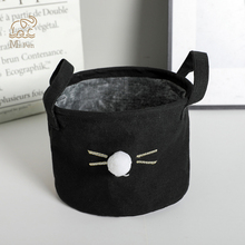 Cute Foldable Kawaii Hair Ball Cat Storage Baskets Office Desktop Cotton Linen Stationery Organizer Clip Letter Holder Desk Set