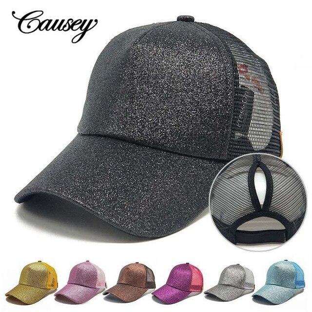 8fd3e50f708 Glitter Ponytail Baseball Cap Hat Ponycap Messy High Bun Adjustable Mesh  Trucker Baseball Cap Summer Hats