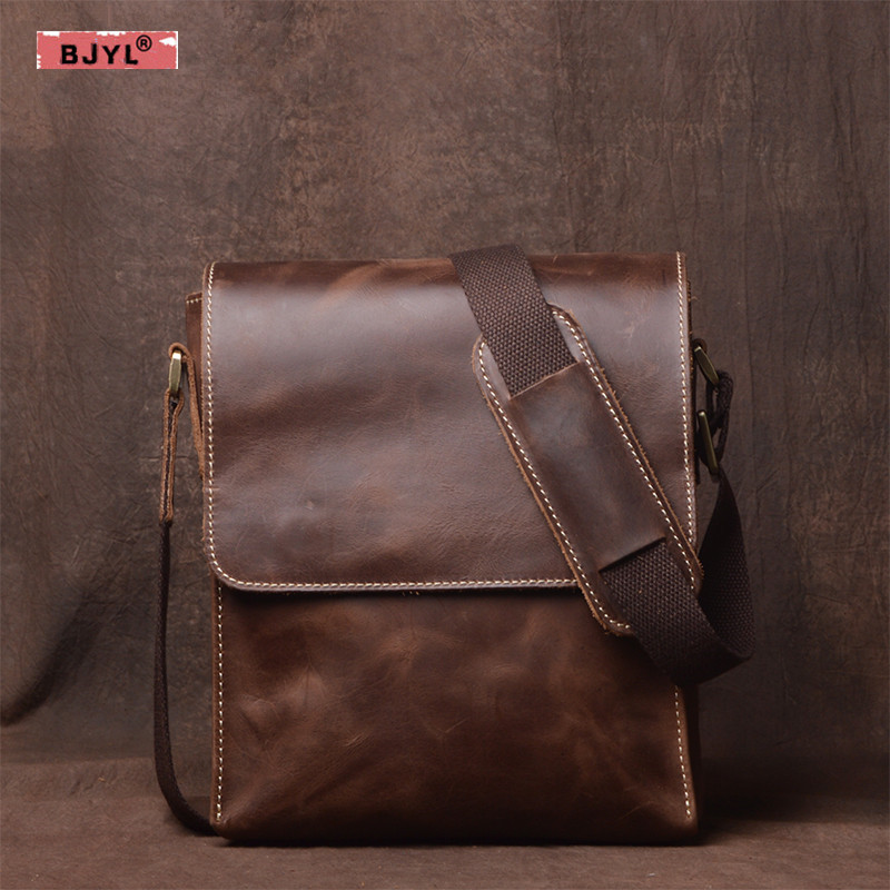 все цены на BJYL Genuine Leather Men Shoulder Bag Vertical Crossbody Bag Retro handbag briefcase Crazy Horse Leather Leisure messenger Bags онлайн