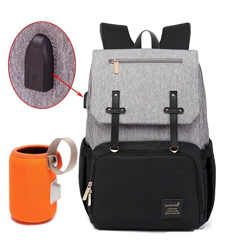 HTB1elARaUrrK1RkSne1q6ArVVXaA Diaper Bag Mummy Daddy Backpack Baby Stroller Bag Waterproof Oxford Handbag Nursing Nappy Kits Maternity Bag USB Warmer Holder