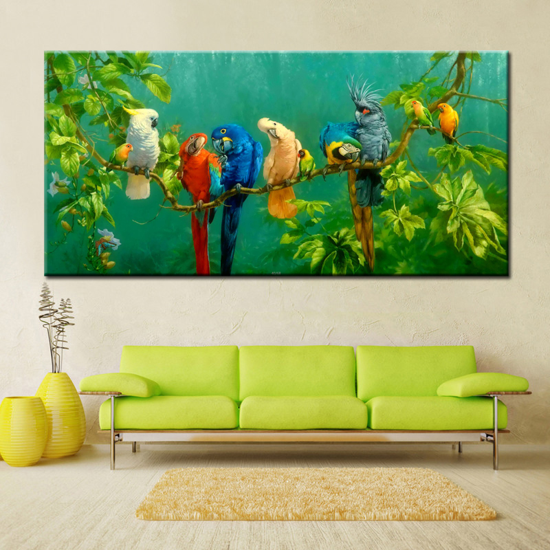 Big Size Digital Printed Canvas Painting Colourful Parrots Print Poster For Living Room Wall Art Picture Home Decor Gift