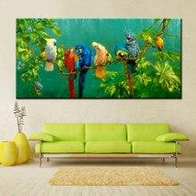 Toile imprimée numérique grande taille avec perroquets colorés, affiche d'art mural pour décoration de maison