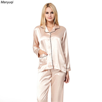 6 Colors Silk Pajamas Women Solid Long Sleeve Cardigan Tops Long Pants Simple Homewear Sleepwear Pajamas