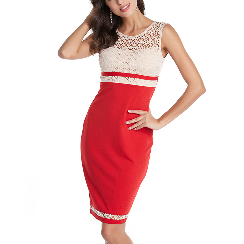 Women KneeLength Work Dress Summer Offical Off shoulder Hollow Out Party Dresses Sexy Bodycon Vintage Ladies Vestidos Sleeveless