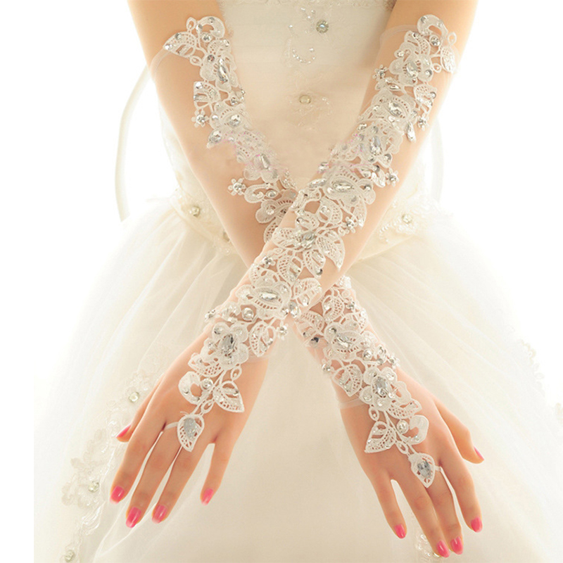 Opera Length Long Wedding Dress Gloves Crystals Diamond Gauze Embroidery Elegant Womens Lace Bridal Gloves Wholesale Cheap Price