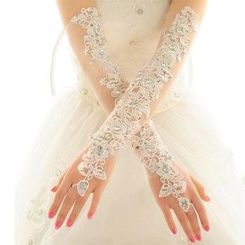 Opera Length Long Wedding Dress Gloves Crystals Diamond Gauze Embroidery Elegant Womens Lace Bridal Wholesale Cheap Price