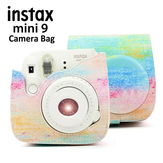 6f0fee440ed9 For Fujifilm Instax Mini 8 9 Instant Camera Rainbow Painting Carrying Case  Bag Cover PU Leather Pouch with Shoulder Strap