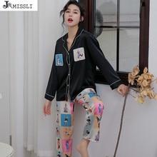 JRMISSLI Euorpean Phong Cách Nữ Pyjama Bộ Drap Bọc Đồ Ngủ Loungewear Mùa Thu Tay Dài Váy Ngủ Lụa