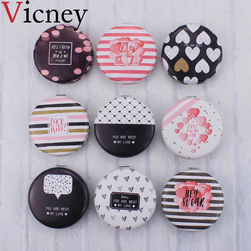 Vicney New design Exquisite Fashion princess mirror foldable pocket mirror Portable makeup mirror Fresh Simple Cosmetic mirrors