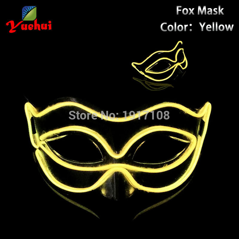Fashion 10 Color lighting Handmade Mask Supply driving by AA Battery controller Fox shape EL mask with Party Wedding decoration
