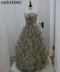 Image 5 - Deep V Neck 3D Floral Print Long Prom Dresses 2019 Blush Pink Flower Evening Dress Spaghetti Straps Criss Cross Back Party Gowns
