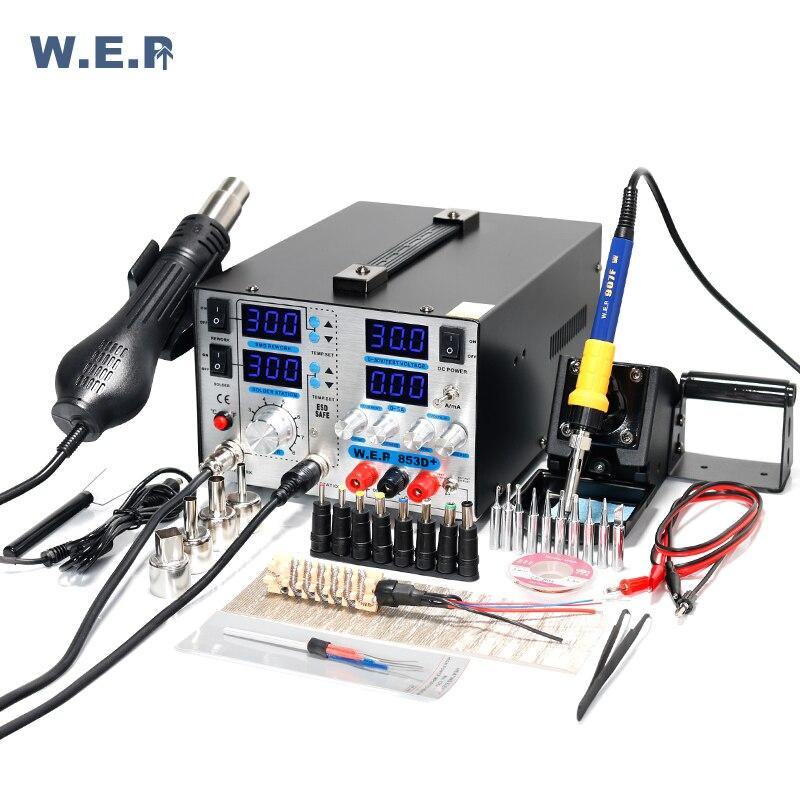 WEP 853D + 5A паяльная станция фена BGA SMD паяльная станция с В 30 в 5A DC питание 3 в 1 сварочный инструмент