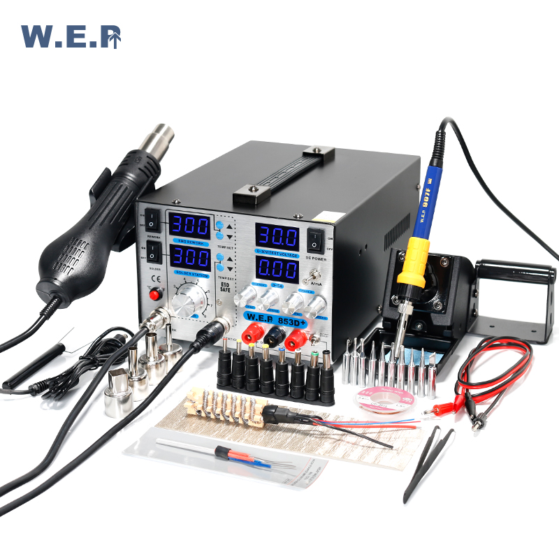 WEP 853D+5A Soldering Station Hot Air Gun BGA SMD Rework Station with 30V 5A DC Power Supply 3 in 1 Welding Tool wep 959d led display smd soldering station hot air gun rework station