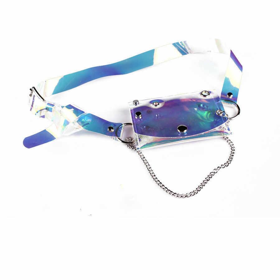 Sacos De Cintura Com Cinto Para As Mulheres Meninas transparente PVC Bolsa Mini Saco Da Cintura Pacote de Cintura Pequena Praça Vestido de Laser de Plástico cinto de cadeia