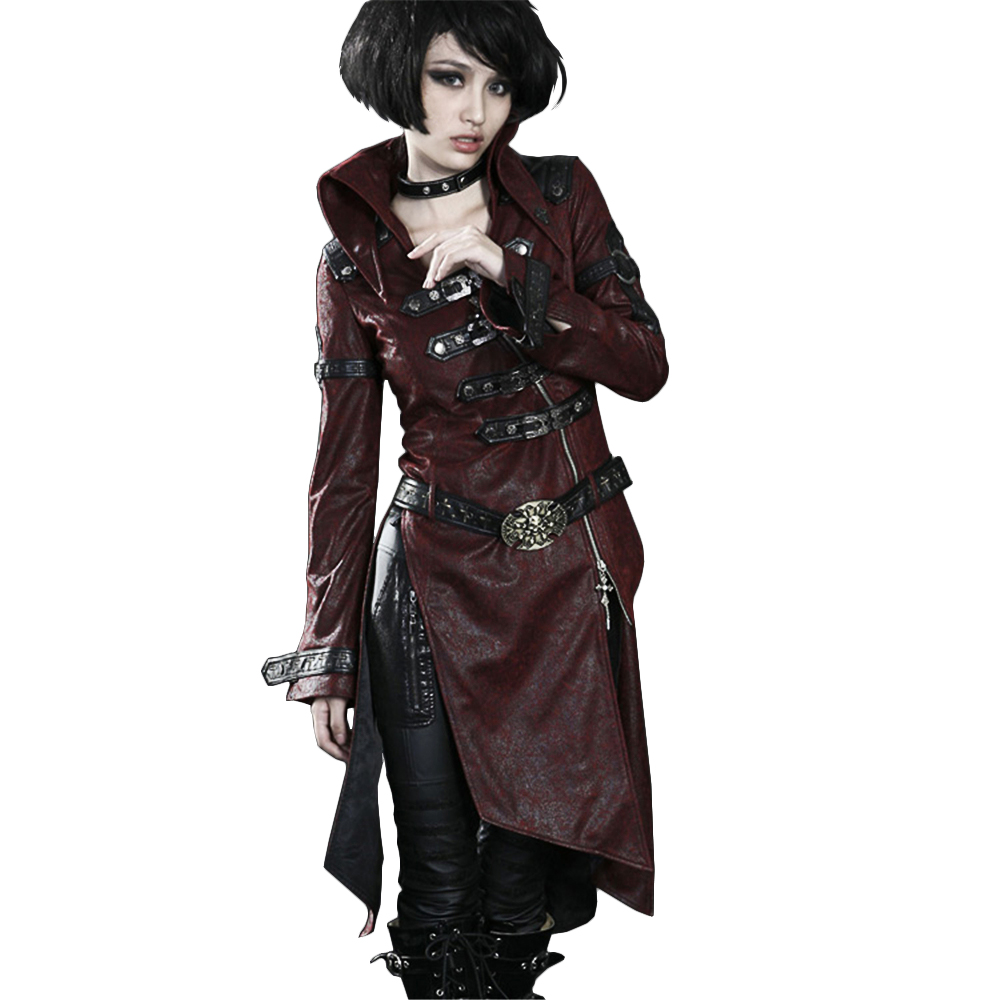 Gothic Cross Leather Long Trench Coat Punk Patchwork Red Women Jacket Stand collar Winter Wind Coats